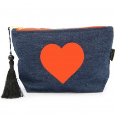 LTLBAG-Denim Neon Orange Heart