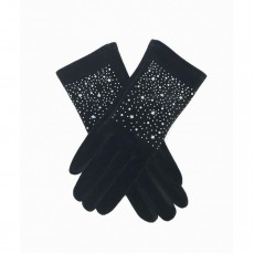 Sparkly Velvet Gloves - Black