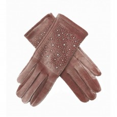 Sparkly Velvet Gloves - Pink