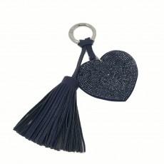 Flat Heart Glitter Keyring-Navy