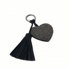 Flat Heart Glitter Keyring-Grey