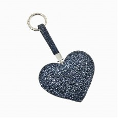 Large Puffed Heart Glitter Keyring-Navy