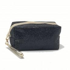 Rectangle Glitter Make-Up Bag-Black