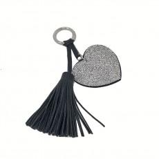 Flat Heart Glitter Keyring-Silver