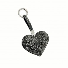 Large Puffed Heart Glitter Keyring-Grey
