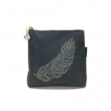 LTLBAG-Crystal Zip-Grey-Feather-Small