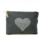 LTLBAG-Crystal Zip-Grey-Heart-Large