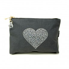 LTLBAG-Crystal Zip-Grey-Heart-Large