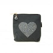 LTLBAG-Crystal Zip-Grey-Heart-Small