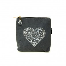 LTLBAG-Crystal Zip-Grey-Heart-Small