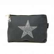 LTLBAG-Crystal Zip-Grey-Star-Large