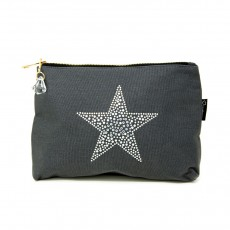 LTLBAG-Crystal Zip-Grey-Star-Large