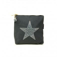 LTLBAG-Crystal Zip-Grey-Star-Small