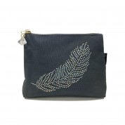 LTLBAG-Crystal Zip-Grey-Feather-Large