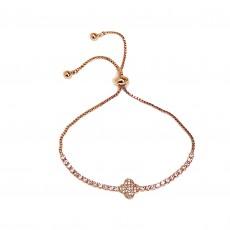BG-Clover Sparkly Bracelet-Rose Gold
