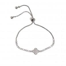BG-Clover Sparkly Bracelet-Silver