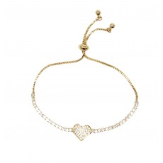 BG-Heart Pull Bracelet-Yellow Gold