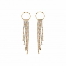 Circle & Sparkle Drop Earrings YG