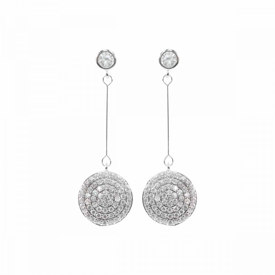 Disc Sparkly Earrings SIL