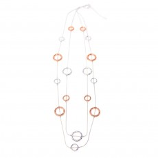 HN-Long Multi Ring Multi Strand Necklace