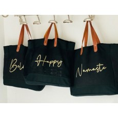 Jute Word Shopper with Faux Leather handles