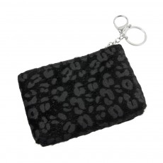 Keyring Pouch-Black Animal Print