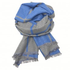 Check Reversible Blanket Scarf Blue/Grey