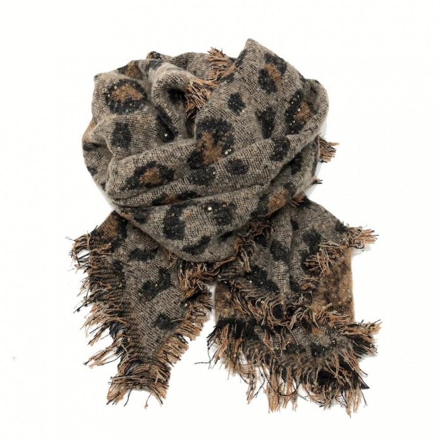 SC-Animal Print Snugly Glitter Scarf Brown