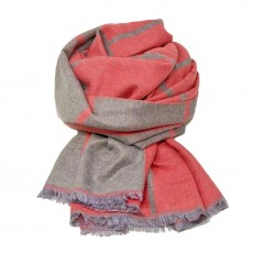 Check Reversible Blanket Scarf Coral/Grey