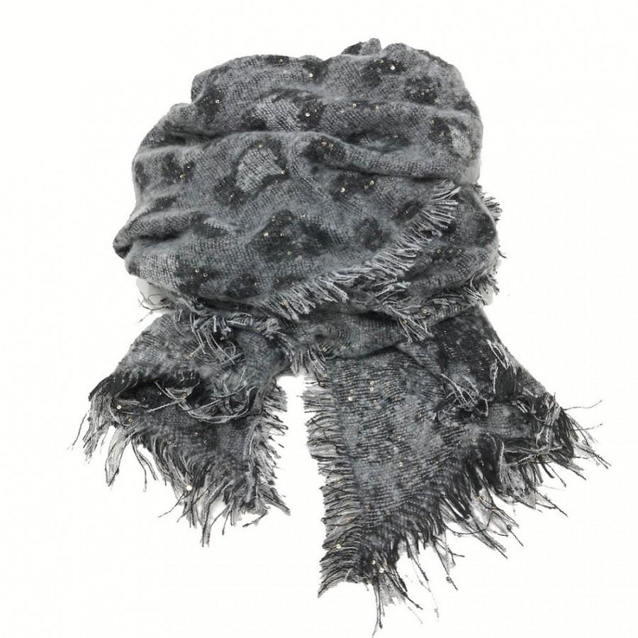 SC-Animal Print Snugly Glitter Scarf Black/Grey