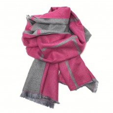 Check Reversible Blanket Scarf Cerise/Grey