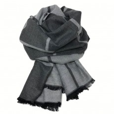 Check Reversible Blanket Scarf Charcoal/Grey