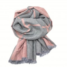 Check Reversible Blanket Scarf Light Pink/Grey