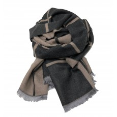 Check Reversible Blanket Scarf Beige/Charcoal