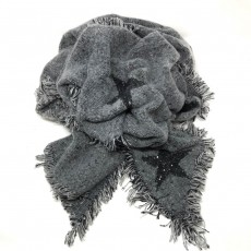 SC-Star Print Snugly Glitter Blanket Scarf Black/Grey